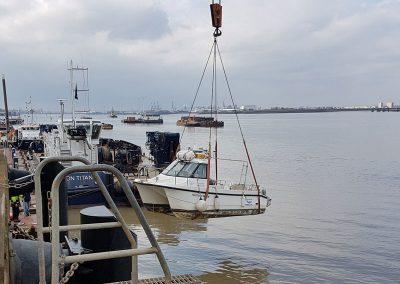 Craning-boat-in